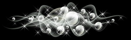 Glowing background with bubbles and smoke