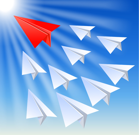 outsider: Paper planes follow their leader on the sun rays background Illustration