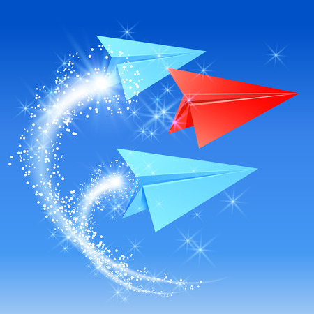 follow the leader: Paper planes follow their leader. Sparkle fireworks.