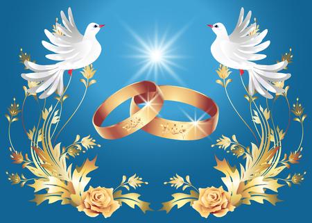 Scheda con anelli di nozze e due colombe Archivio Fotografico - 46271655