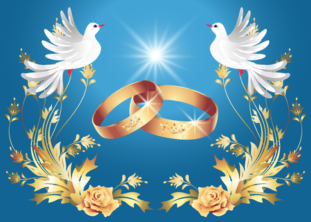 Card with wedding rings and two doves Vectores