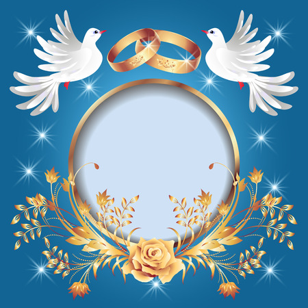 Card with wedding rings, golden frame and two doves