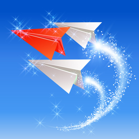 follow: Paper planes follow their leader. Sparkle fireworks.