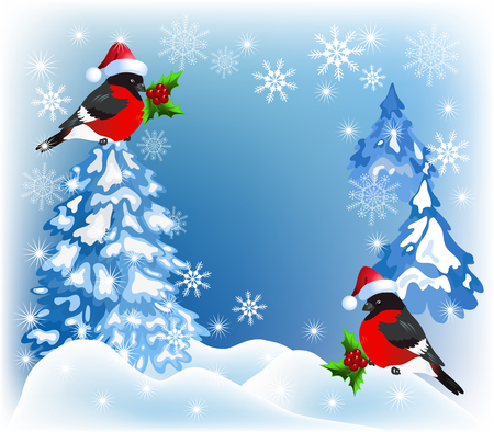snow drifts: Christmas forest with bullfinches in Santa Claus hat