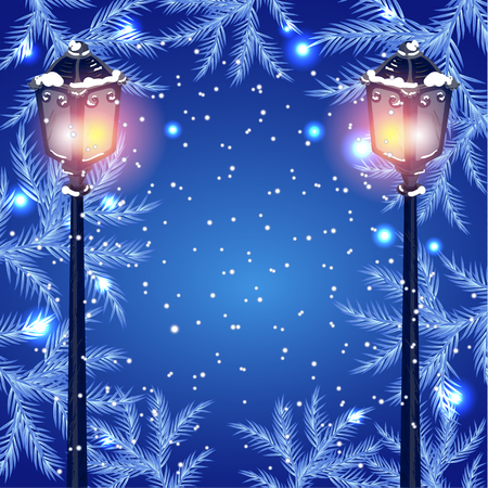 fur tree: Christmas vintage streetlamp on the evening landscape background and fur tree