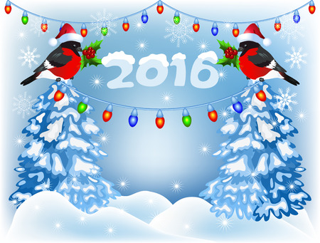 snow drifts: Christmas forest and bullfinches in Santa Claus hat with lantern garland