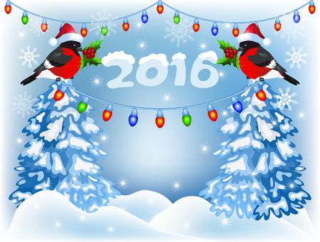 neige noel: Forêt et bouvreuils de Noël au Père Noël chapeau avec lanterne guirlande