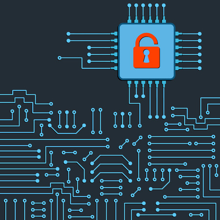 hack: Drawing modern electronic circuit. Security concept of electronics system.