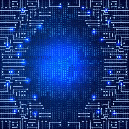 Drawing modern electronic circuit and  binary code on blue grungy background