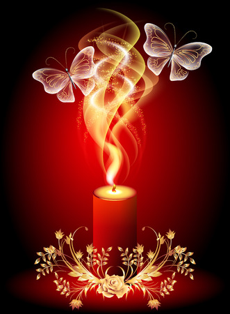 burning: Burning candle with butterflies and golden ornament