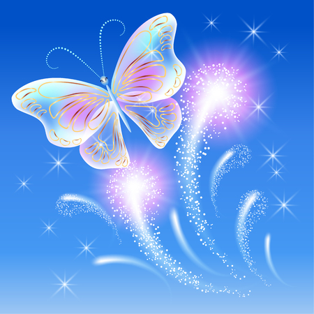 blue butterfly: Transparent flying butterflies and firework