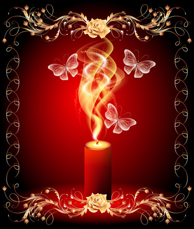 burning candle: Burning candle with butterflies and golden ornament
