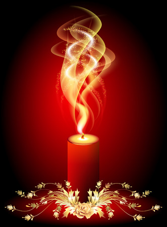 burning candle: Burning candle with smoke and golden ornament