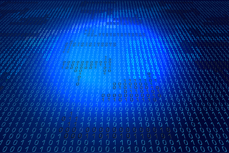 codigo binario: C�digo binario en fondo azul que brilla intensamente