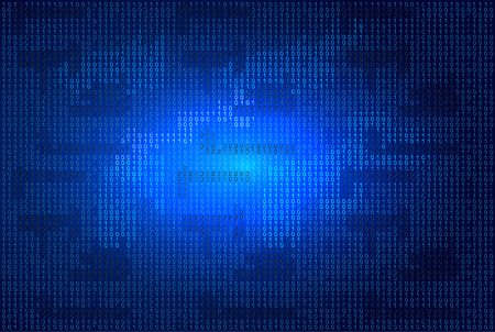 Binary code on blue glowing background