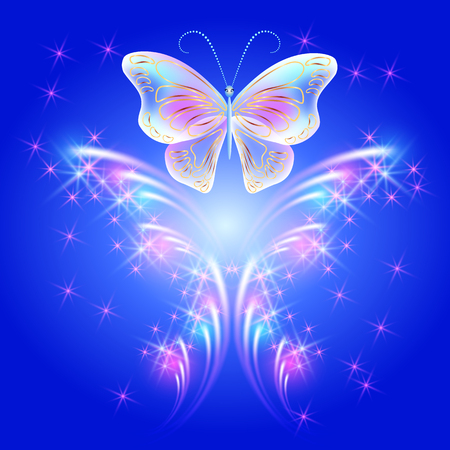 dreamlike: Transparent flying butterfly and firework