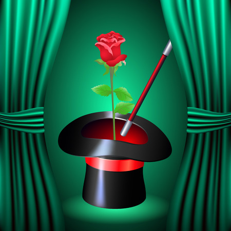 conjurer: Conjurer hat with magic red rose