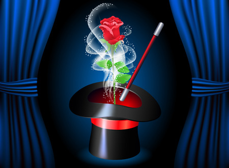 conjurer: Conjurer hat with magic red rose and smoke Illustration