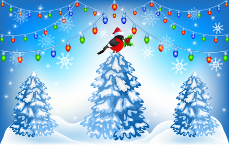 snowdrift: Christmas forest and bullfinches in Santa Claus hat with lantern garland