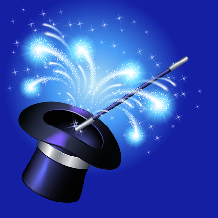 conjurer: Conjurer hat with magic wand and sparkle fireworks on blue background