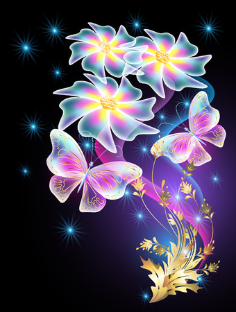 shimmering: Neon butterflies and transparent daisy with golden ornament and stars Illustration