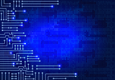 binaries: Drawing modern electronic circuit and  binary code on blue background