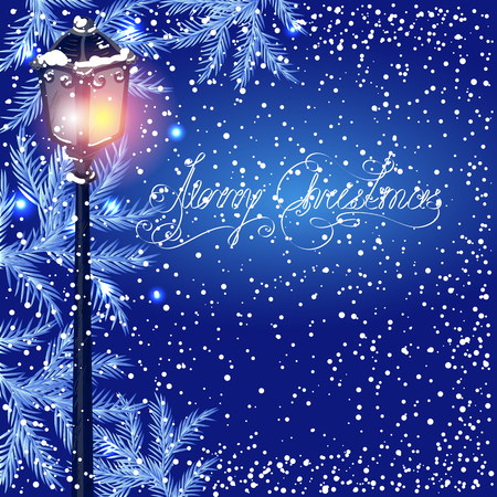fur: Christmas vintage streetlamp on the evening landscape background and fur tree