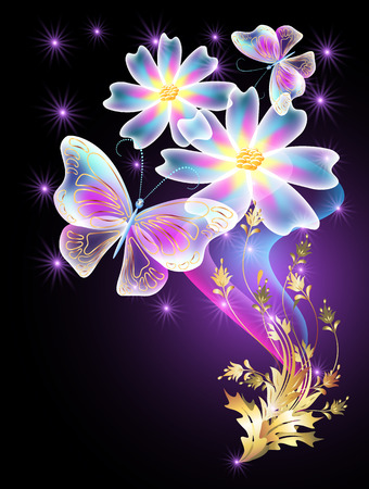 butterfly flower: Neon butterflies and transparent daisy with golden ornament and stars Illustration