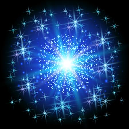 star background: Christmas star on blue sparkle background