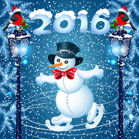 Snowman skates in cylinder hat and streetlamp with bullfinch Illustration