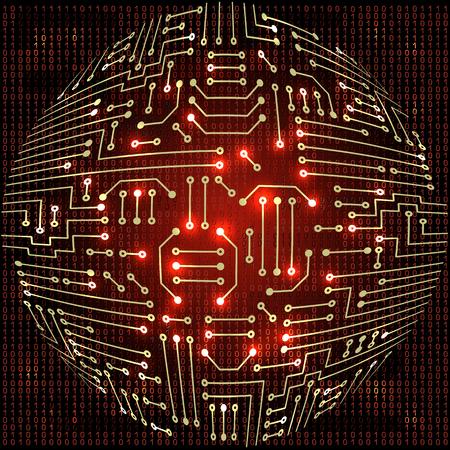 binaries: Drawing modern electronic sphere  circuit and  binary code