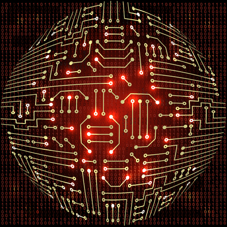 Drawing modern electronic sphere  circuit and  binary code
