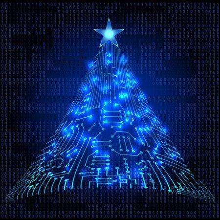 光る星とデジタル電子回路からのクリスマス毛皮ツリー