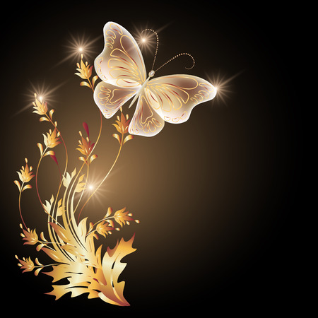 Transparent flying butterfly with golden ornament and glowing stars Illustration