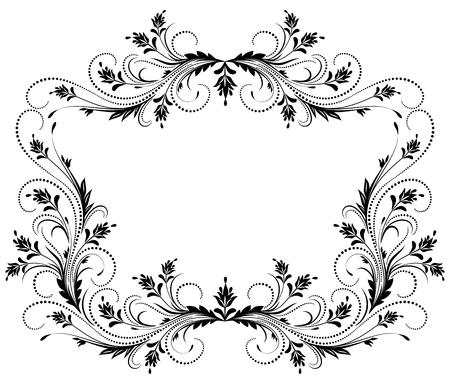 Marco floral decorativo con el ornamento en estilo retro