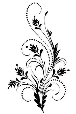 Decorative floral ornament in retro style