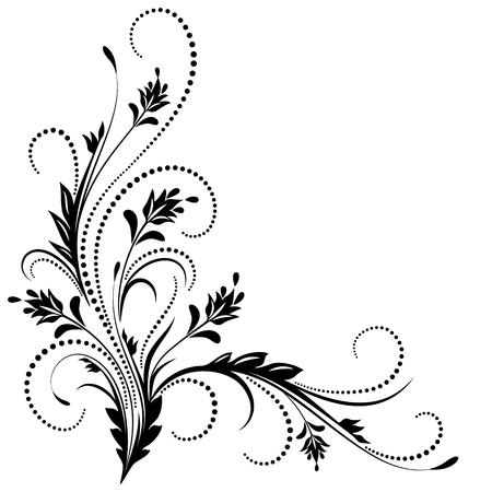 esquineros de flores: Ornamento de la esquina decorativo en estilo retro