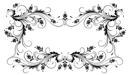 Decorative floral frame with ornament in retro style Illustration