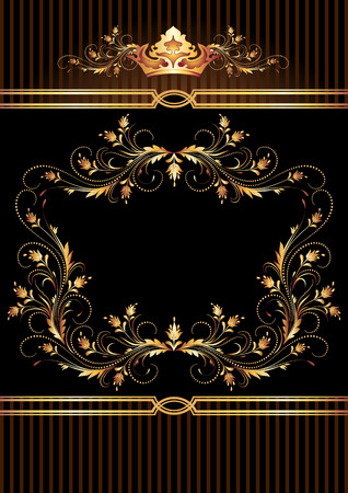 luxurious: Background with luxurious golden ornament and crown