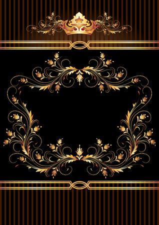 cobre: Fondo con el ornamento de oro y la corona de lujo