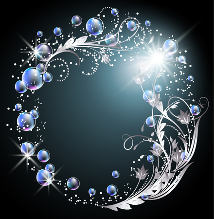 Glowing background with silver ornament, star and bubbles