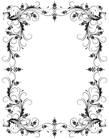 lineas decorativas: Marco floral decorativo con el ornamento en estilo retro