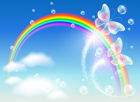 Rainbow and magic butterfly in the sky Stock Illustratie