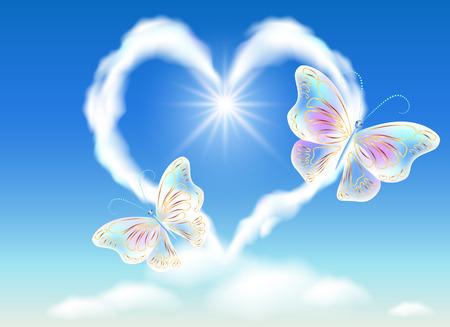 cuore nuvola nel cielo e trasparenti farfalle Vettoriali