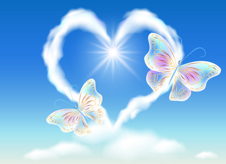 Cloud heart in the sky and transparent butterflies