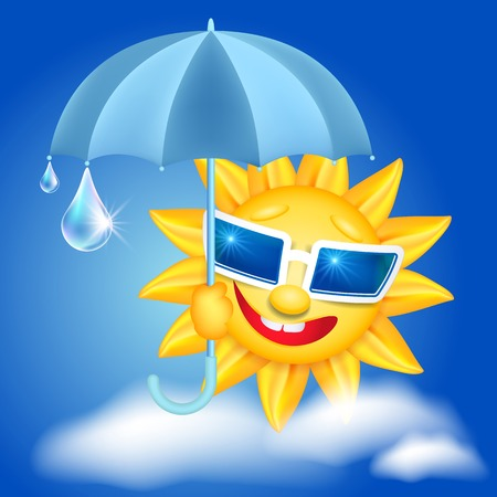 laughable: Smiling shines sun in glasses with umbrella and raindrops Illustration