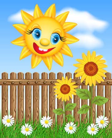 laughable: Sun looks from behind a fence on a sunflower and smiling Illustration