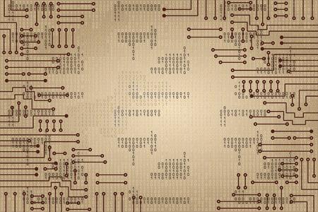 codigo binario: Dibujo circuito electrónico moderno y código binario