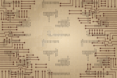 circuitos electronicos: Dibujo circuito electrónico moderno y código binario