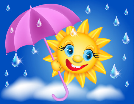 laughable: Smiling shines sun with umbrella and raindrops Illustration